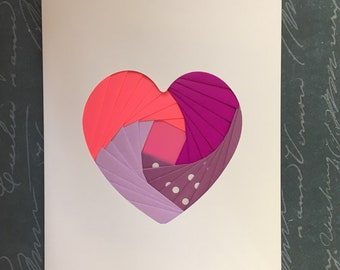 Iris folded heart shape greeting card - pink, purple and spotty paper