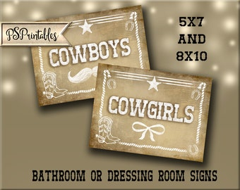 Western Themed Bathroom or dressing room signs - Cowboy & Cowgirl VINTAGE Style - PRINTABLE file  DIY Western Wedding signage
