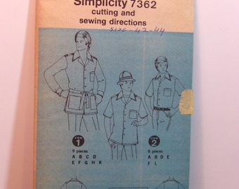 Vintage 70s Simplicity 7362 Mens Retro Shirts Sewing Pattern Size 42-44