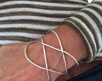silver bracelet - silver cuff - handmade silver jewelry - freeform one of a kind - unique bracelet