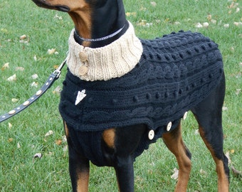 Dog Sweater MOONLIGHT 100% USA cotton hand knit for large Dogs