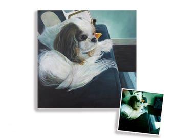 "12x12x1.5"" Cavalier King Charles Spaniel gift custom pet portrait painting on canvas hand painted dog art"