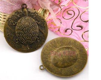 Antiqued bronze turtle Locket pendant