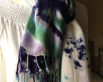 Tie Dye Fringe Scarf Rayon, Purple/Green/White, Gift for Her