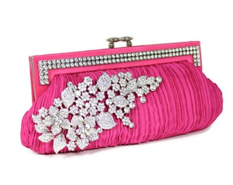 Fuchsia Clutch, Bridal Clutch, Bridesmaids Clutch, Evening Bag, Wedding Accessories, Bridal Accessories