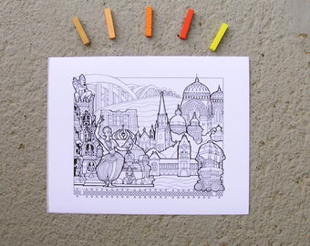 Chennai, India - DIY Color-Your-Own Art Print - 11 by 14 Illustration Pen and Ink Art Print