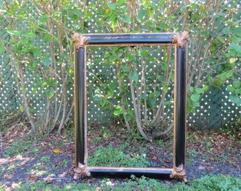 FRAME ITALIAN WOOD Vintage (circa 1970s) Black/Gilded Gold Frame Made In Italy, Free Shipping
