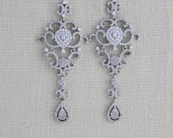 Bridal earrings Chandelier, Wedding jewelry, Swarovski earrings, Crystal Wedding earrings, Statement earrings, Chandelier earrings, Filigree