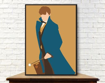Newt Scamander Poster Minimalist Poster Newt Scamander Print Newt Scamander Wall Art Fantastic Beasts and Where to Find Them Poster