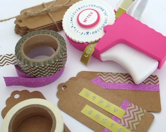 Motex Retro Embossing Label Maker in Pink or Green E-303