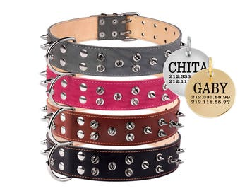 Leather Spiked Dog Collar Small Medium Large Black Brown Optional Personalized Dog ID Tag