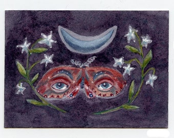 Blue Moon Moth, original ACEO