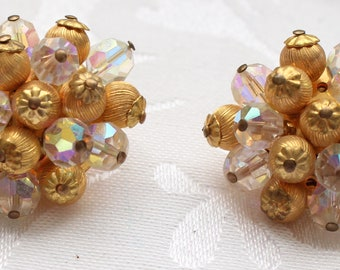 CE # 103 Spectacular Vintage Cluster Clip On Earrings with Aurora Borealis Clear Faceted Crystal Beads, Two Types of Gold Tone Beads
