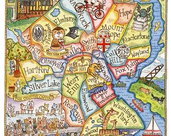 Providence Rhode Island Art Map 8 x 10
