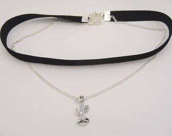 Double choker with chain and cactus charm.