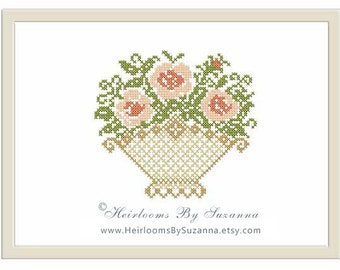 Basket of Roses Machine Cross Stitch Pattern - Floral Machine Embroidery Design - HBS-402
