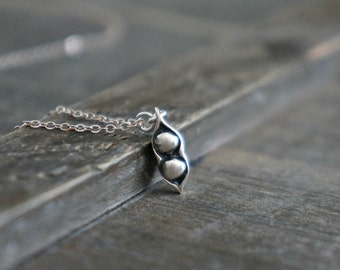 Two Peas in a Pod Necklace / Tiny Silver Pea Pod Pendant on a Sterling Silver Chain ... Meaningful Custom Jewelry