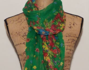 Vibrant green summer floral primary color scarf or shawl or wrap