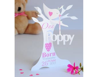 Personalised 3d Paper Cut 1st Birthday Card for a Daughter, Granddaughter, Niece &  Goddaughter