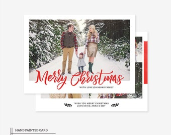 Christmas Card Template for photographers PSD Flat card - Photoshop Template - PSD Template - 040