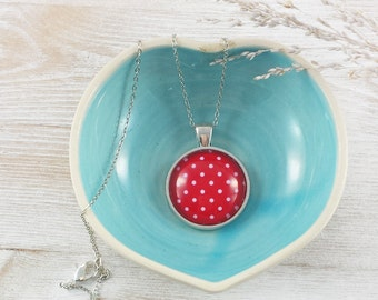 Red Necklace - Jewelry - Fashion Jewelry - Gifts for Her - Polka Dot - Red Jewelry - Retro Jewelry (5-1N)