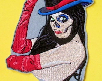 Jumbo Embroidered Sugar Skull Applique Patch, Day of the Dead, Dia de los Muertos, Mexico, Biker Patch, Top Hat, Sultry,Iron On or Sew On