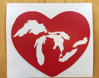 Great Lakes Heart Vinyl Decal sticker