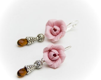 Earrings pink roses flowers Stocking stuffer Flower earrings Roses pink flowers polymer clay Wedding earrings Gift for her Gift for woman