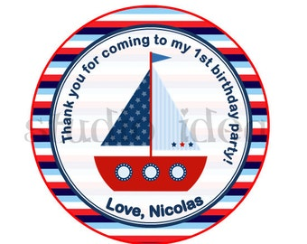 "Custom Boat Thank you Tags- 2.5"" Printable Nautical theme Tags- Personalized Baby Shower Tags- Navy blue-Red Circle 2.5"" Tags- Digital file"