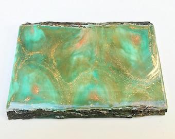 Teal Copper Edge live edge wood coaster & wall art / teal, gold, copper)