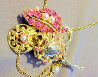 Pink Second Time Around Assemblage of Vintage Bobbles Necklace or Brooch Free Shipping in USA