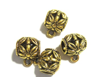 24 Antique gold Charm hangers  jewelry making supplies pendant hangers bead hangers  bail beads large hole bead GAB8-(L1)