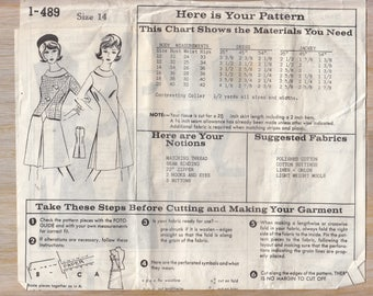 "1960's Women's A-line Sleeveless Dress and Short Jacket Sewing Pattern Mail Order 1-489 Size 14 Bust 34"" Waist 26 Hip 36"" Uncut"