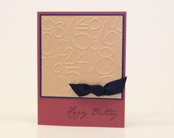 Masculine (Burgundy/Navy) or Feminine (Pink/Navy) Birthday Card