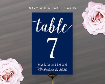 Printable DIY Navy Blue Table Number Cards 4x6 | Calligraphy Table Numbers with Name and Wedding Date | Instant Download