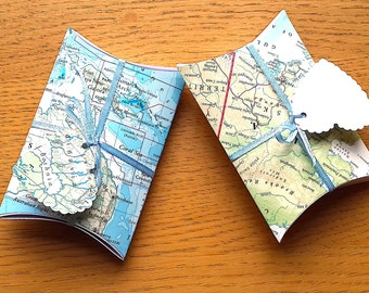 2 Travel Theme Favor Boxes - Map Favor Boxes - Travel Favors - Travel Theme Wedding / Party -Map Gift Box -Travel Party  Decor - Table Decor