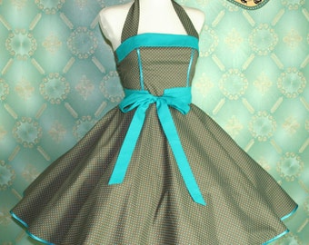 50's vintage dress full skirt in turquoise brown polka dots perfect for a petticoat Tailor Made
