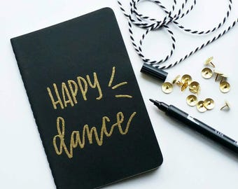 Mini gold embossed moleskine - Happy dance