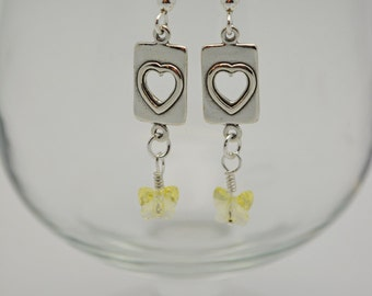 Sterling Hearts & Swarovski Butterfly Drop Earrings for Spring. Dainty Jonquil Swarovski Butterflies dangle from sterling heart cutouts.