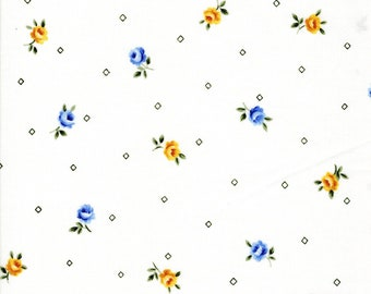 Garden Twist Anniversary Fabric Designed by Sharon Yenter for In The Beginning,Yellow and Blue Flowers on White By The Yard