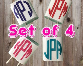 Set of 4 - Personalized Monogrammed Charger Adapter Vinyl Decals