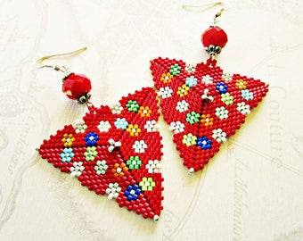 Woven earrings red triangle pattern multi - colored flowers