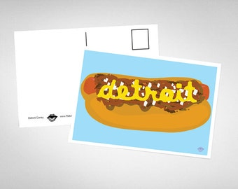 Detroit Coney Dog Postcard