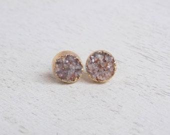 Druzy Stud Earrings, Natural Druzy Earrings, Round Druzy Studs, Gemstone Earrings, Sparkly Druzy Studs, Drussy, Small Stone Posts Gift G5-34