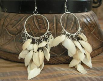 FREE Shipping Shell Mixed Metal Bohemian Beach Hoop Earrings