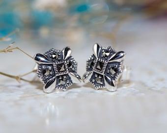 Marcasite cross studs/ Marcasite Earrings / Stud Earrings / Sterling Silver Earrings