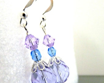 Iced Orchid Purple Sparkling Earrings
