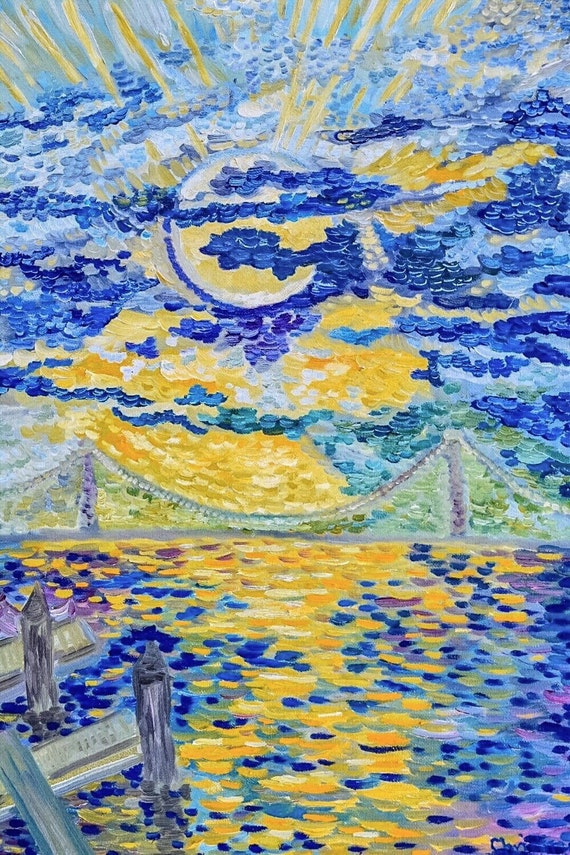 Van Gogh Sunset over NYC Bridge original oil painting