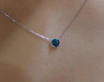 Blue Topaz Pendant 14k White Gold/ 14k Gold London Blue Topaz Necklace/ Solitaire London Blue Topaz Necklace/ December Birthstone/ Dainty