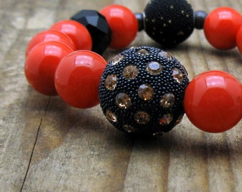 Coral Black Minimalist Beaded Bracelet, Rhinestone Studded  Focal, Stretch for Her Under 90 US Free Shipping